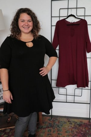 Dance The Night Away 3/4 Sleeve Dress With Keyhole Neck - Multiple Colors - Sizes 12-20