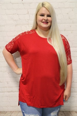 Having A Good Time Lace Sleeve Top In Multiple Colors- Sizes 12-20 *Final Sale*