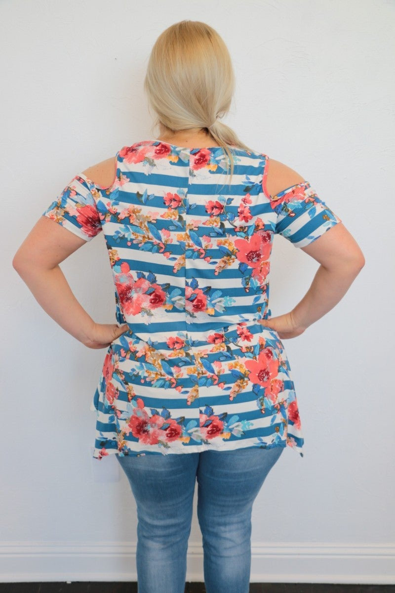Divided Attention Striped Floral Top in Blue - Sizes 12-20