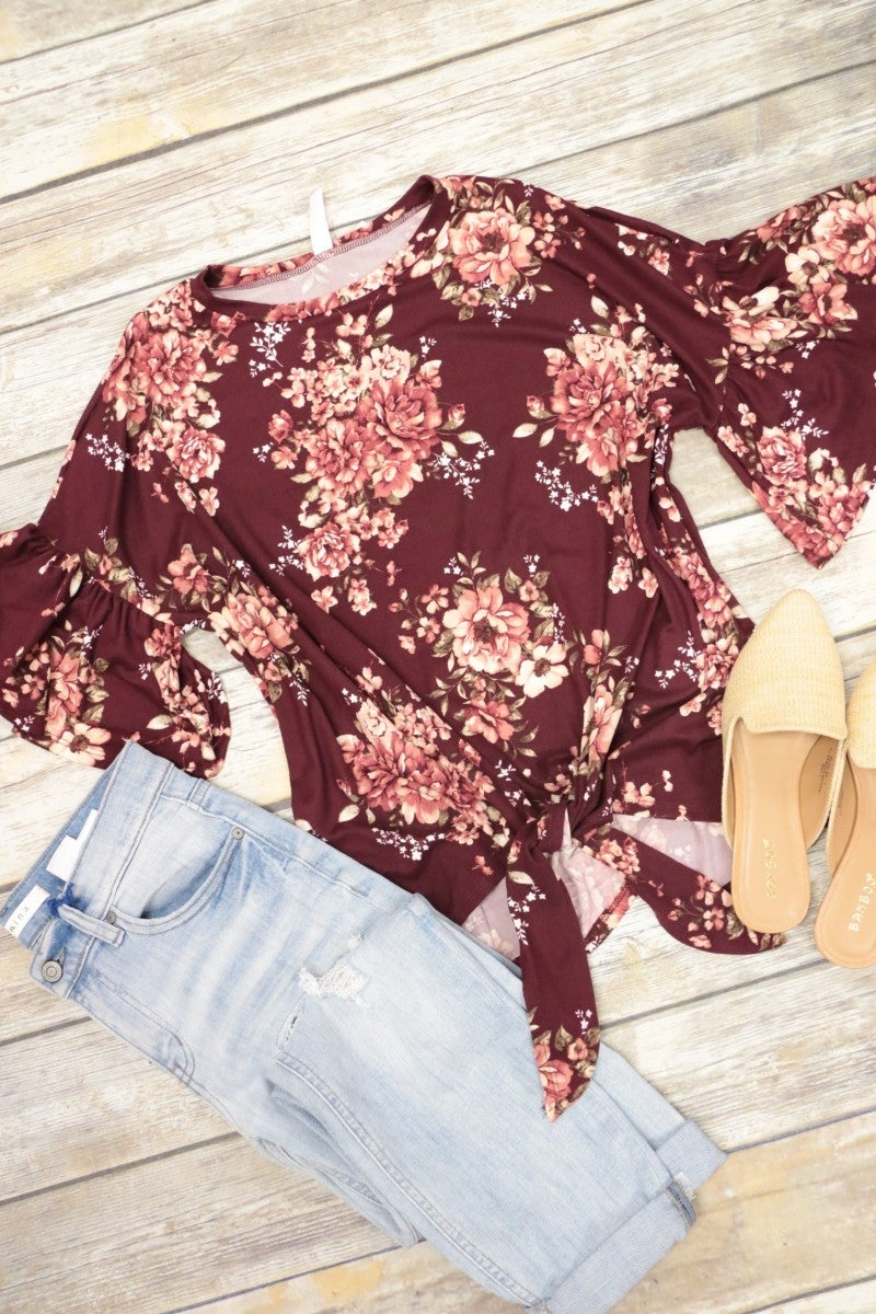 Lost In Love Tie Front Floral Top In Burgundy Sizes 4-10