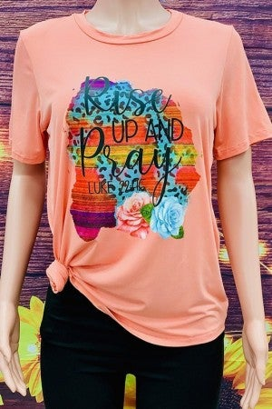 Rise Up And Pray Graphic Tee In Papaya- Sizes 4-20