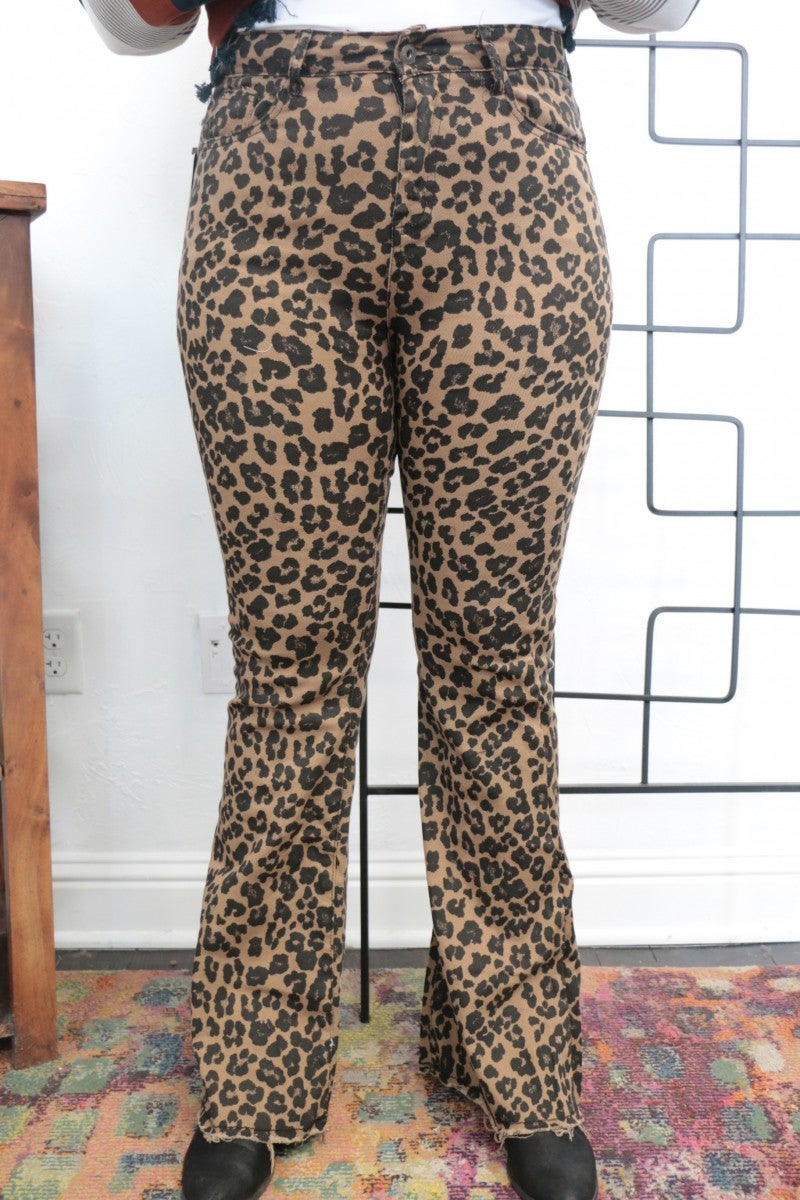 The Paislee Leopard Bell Bottom Jeans - Sizes 4-20