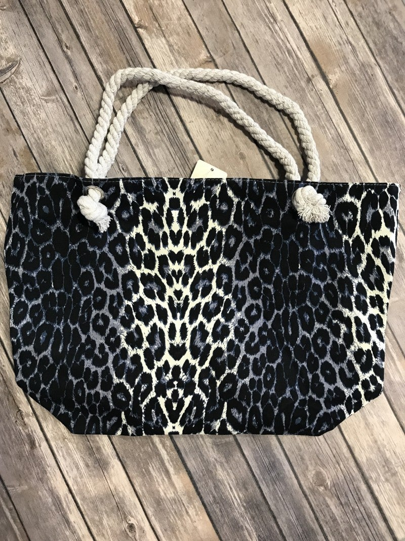 Living Loud Gray Zippered Leopard Tote Bag with Rope Handle