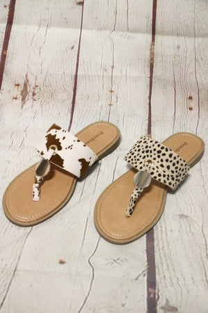 Loving Animal Print Sandal With Gold Disk Accent In Multiple Prints