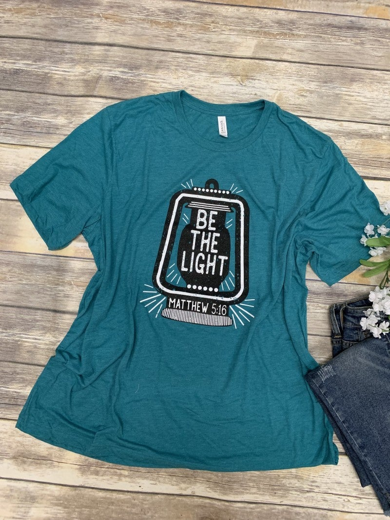 Be The Light  Matthew 5:16 - Tee In Turquoise