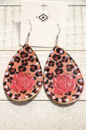 Desert Rose Leather Teardrop Earring With Leopard and Rose Print
