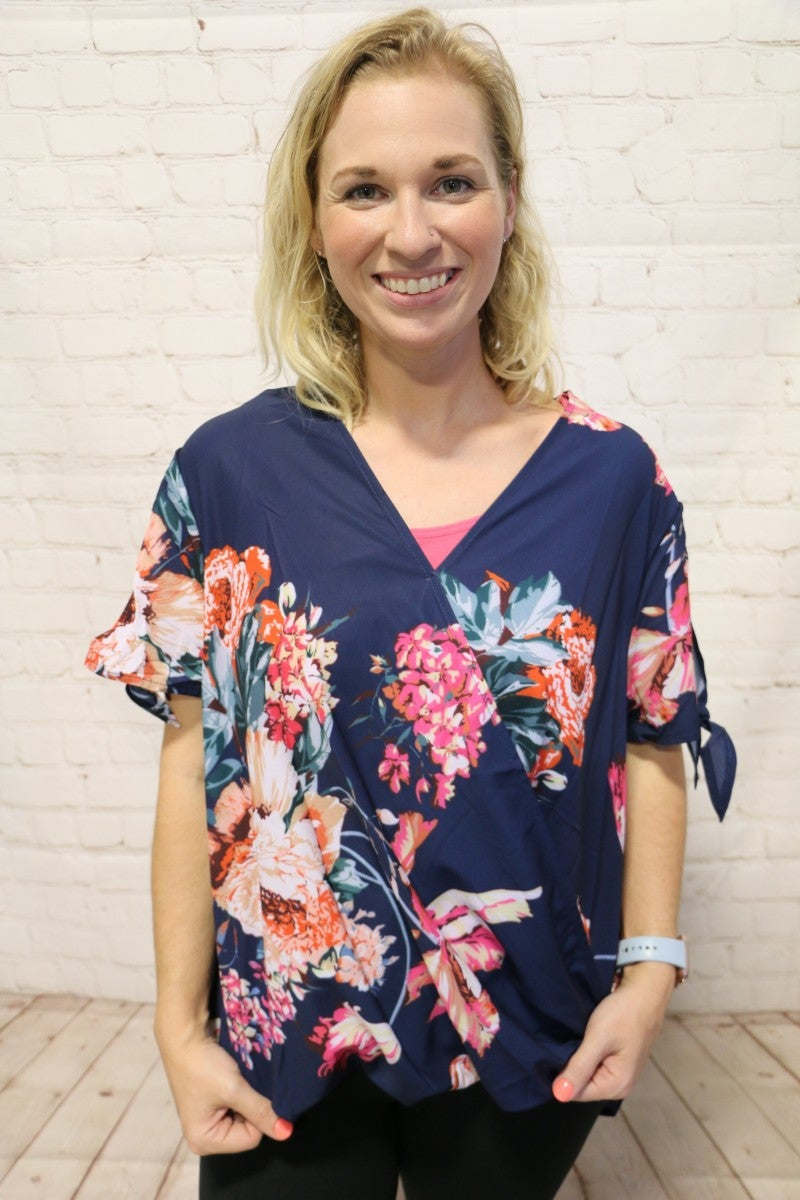 Same As You Blue Floral Twist Top - Sizes 4-10