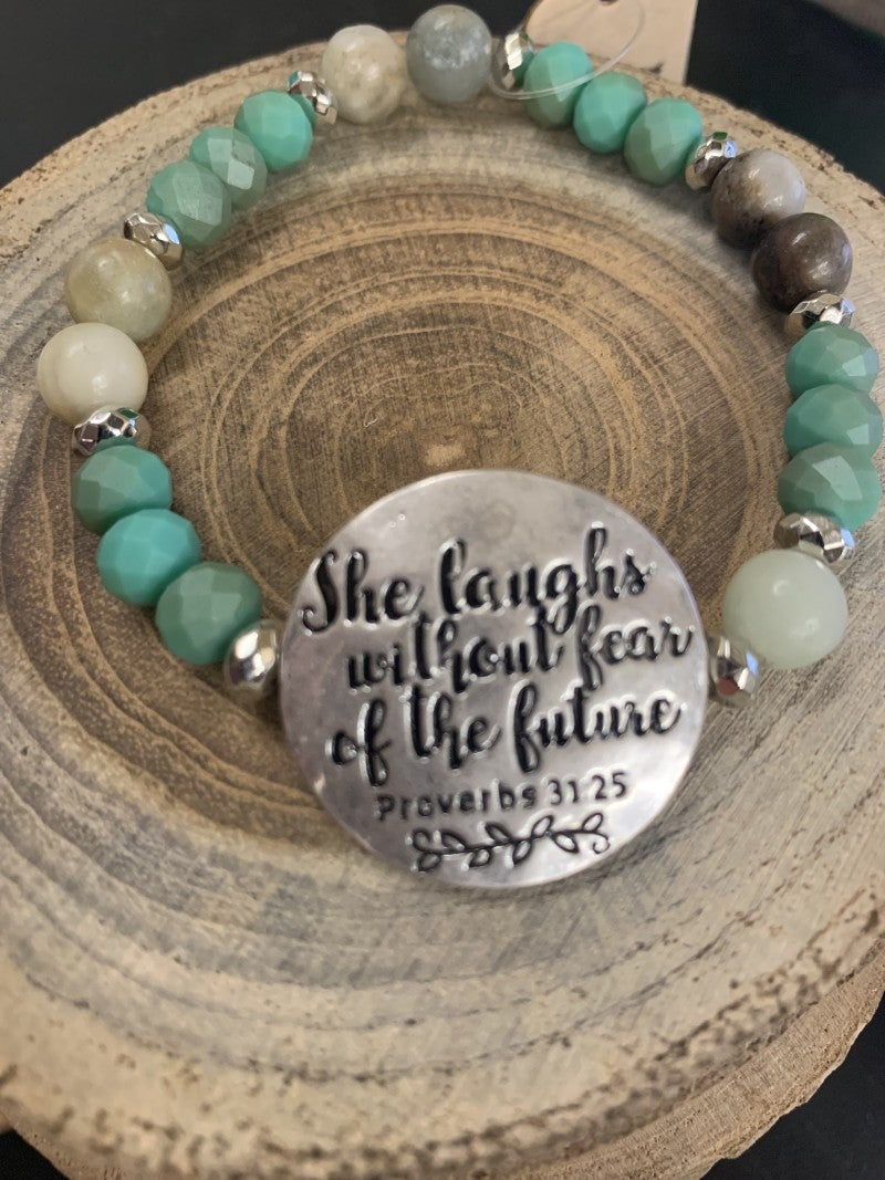 She Laughs Without Fear Of The Future Beaded Stretch Bracelet - Assorted Colors
