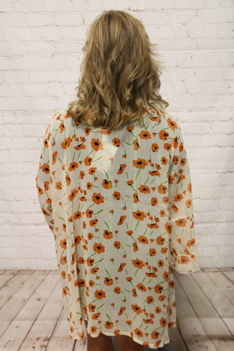 Sweet as Can Be Sheer Ivory Cardigan with Orange Poppy Flower -Sizes