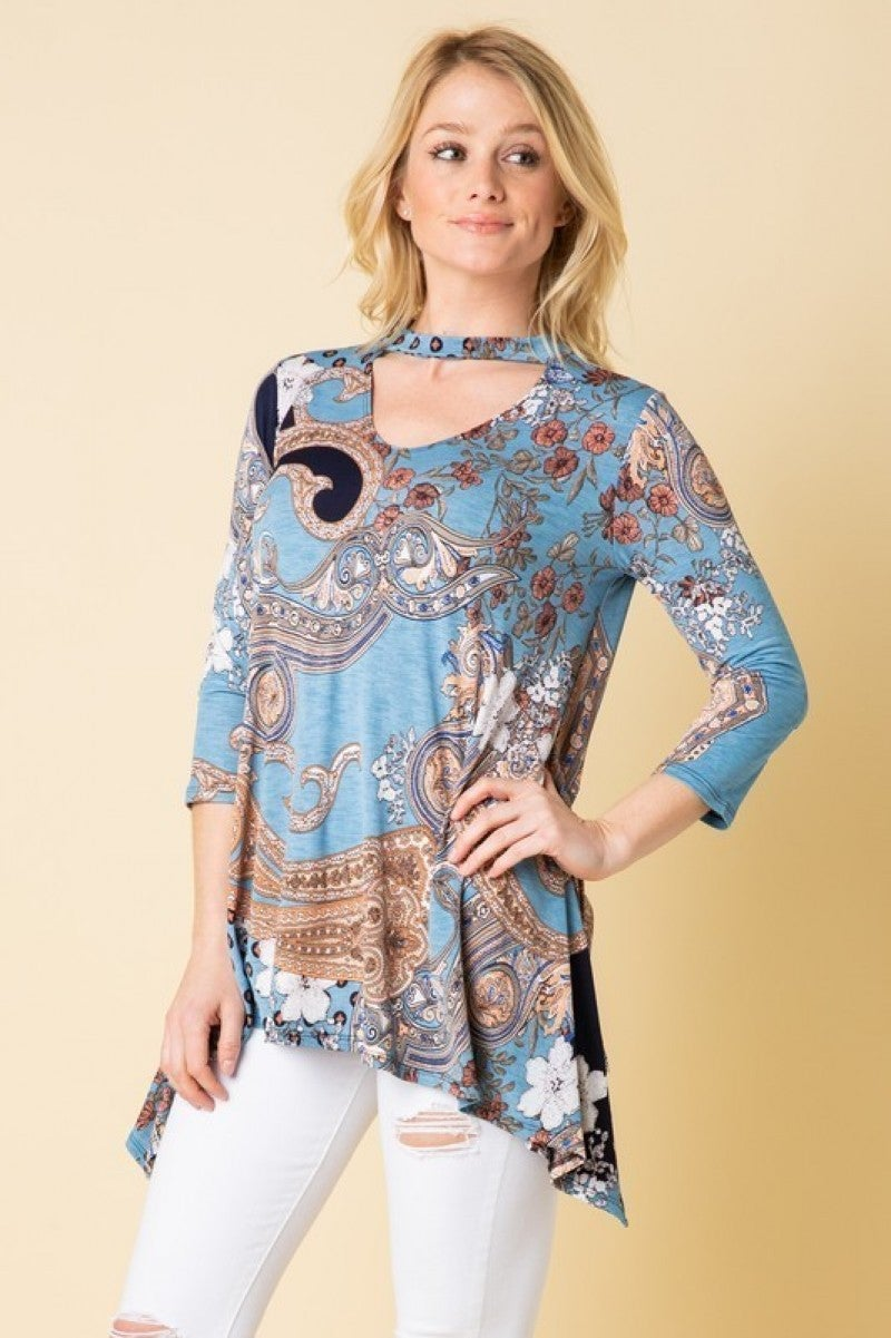 Fortunate Night Paisley Mix Print In Blue - Sizes 12-20