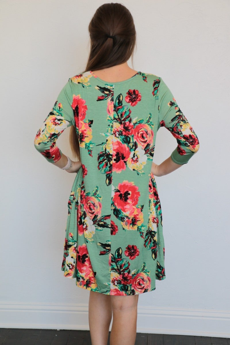 Sing Your Praises Floral Print Dress In Sage Sizes 4-12