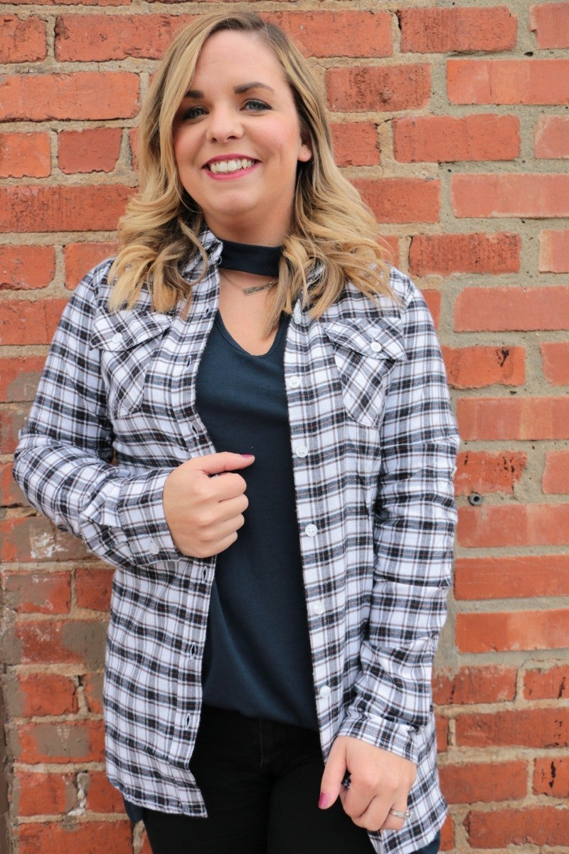 You Are Good To Me Flannel Button Up In White - Sizes 4-12