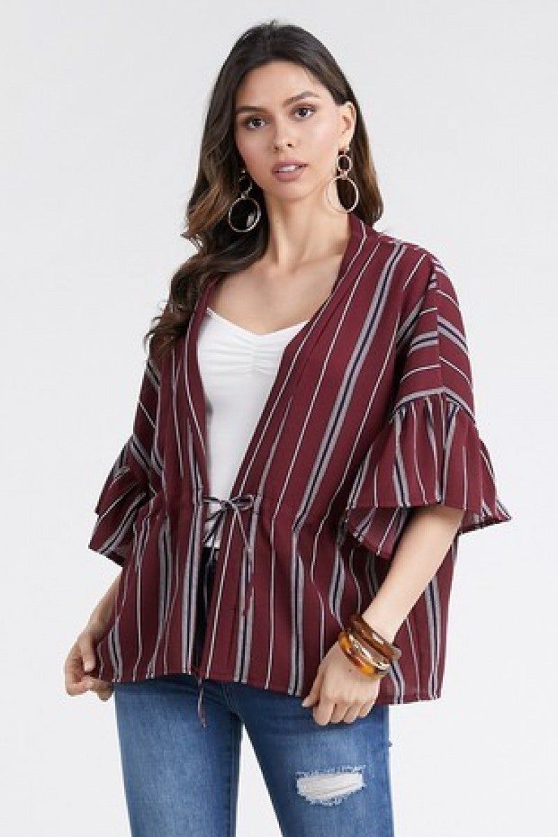 All I Wanna Do Striped Kimono With Drawstring & Bell Sleeves In Multiple Colors- One Size
