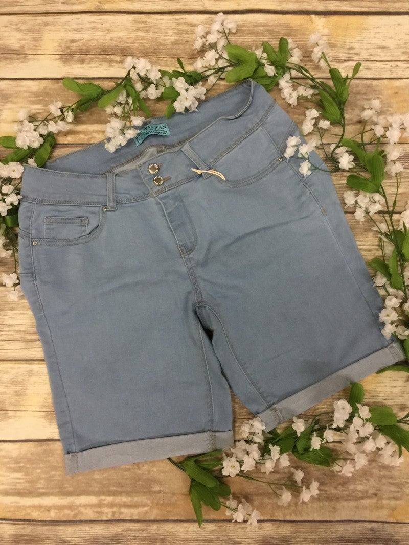 The Jessica Cuffed Light Denim Shorts - Sizes 12-20
