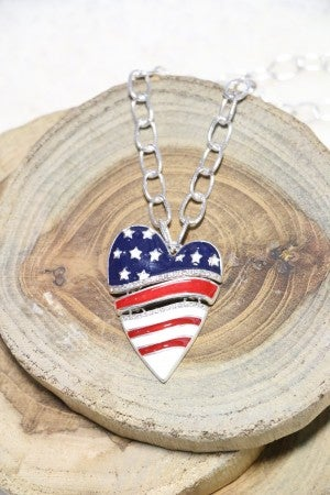 Patriotic Split Heart Necklace In Silver