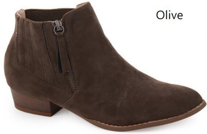 Rise Above Olive Suede Ankle Bootie with Pewter Zipper Sizes 7-11