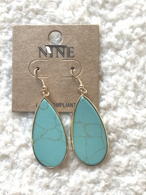 Santa Fe Teardrop Turquoise Earrings In Gold