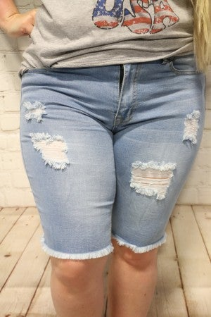 Between Us Light Denim Distressed Bermuda Shorts With Frayed Hem- Sizes 14-22