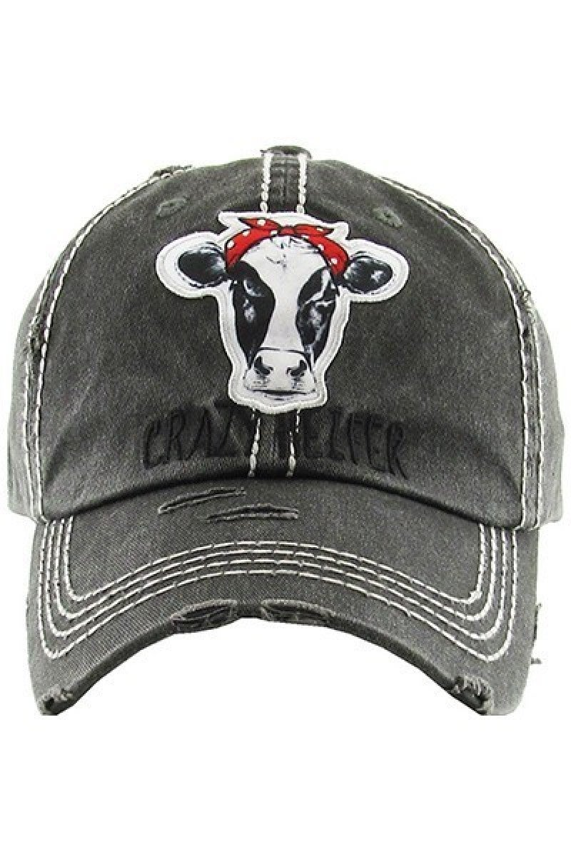 Crazy Heifer Distressed Ballcap in Charcoal