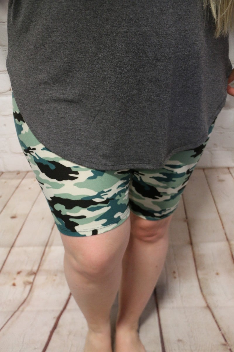 Cant Find You Camo Biker Shorts- Sizes 12-20