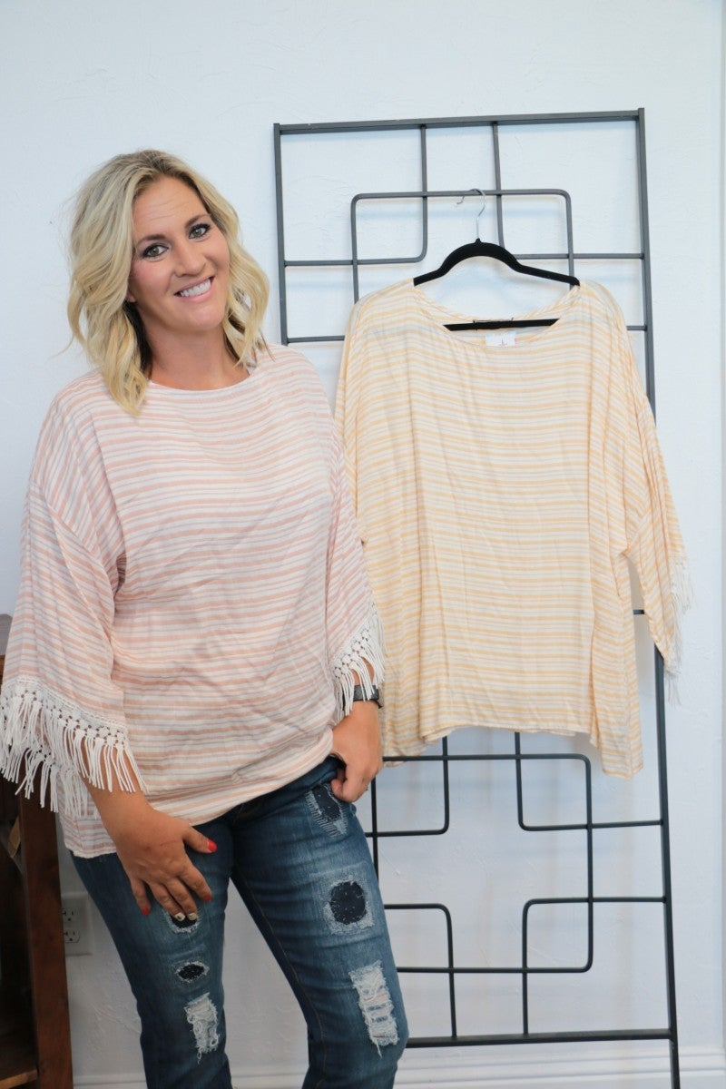 Have It Your Way Dolman Style Top With Fringe Sleeve - Multiple Colors- Sizes 4-20