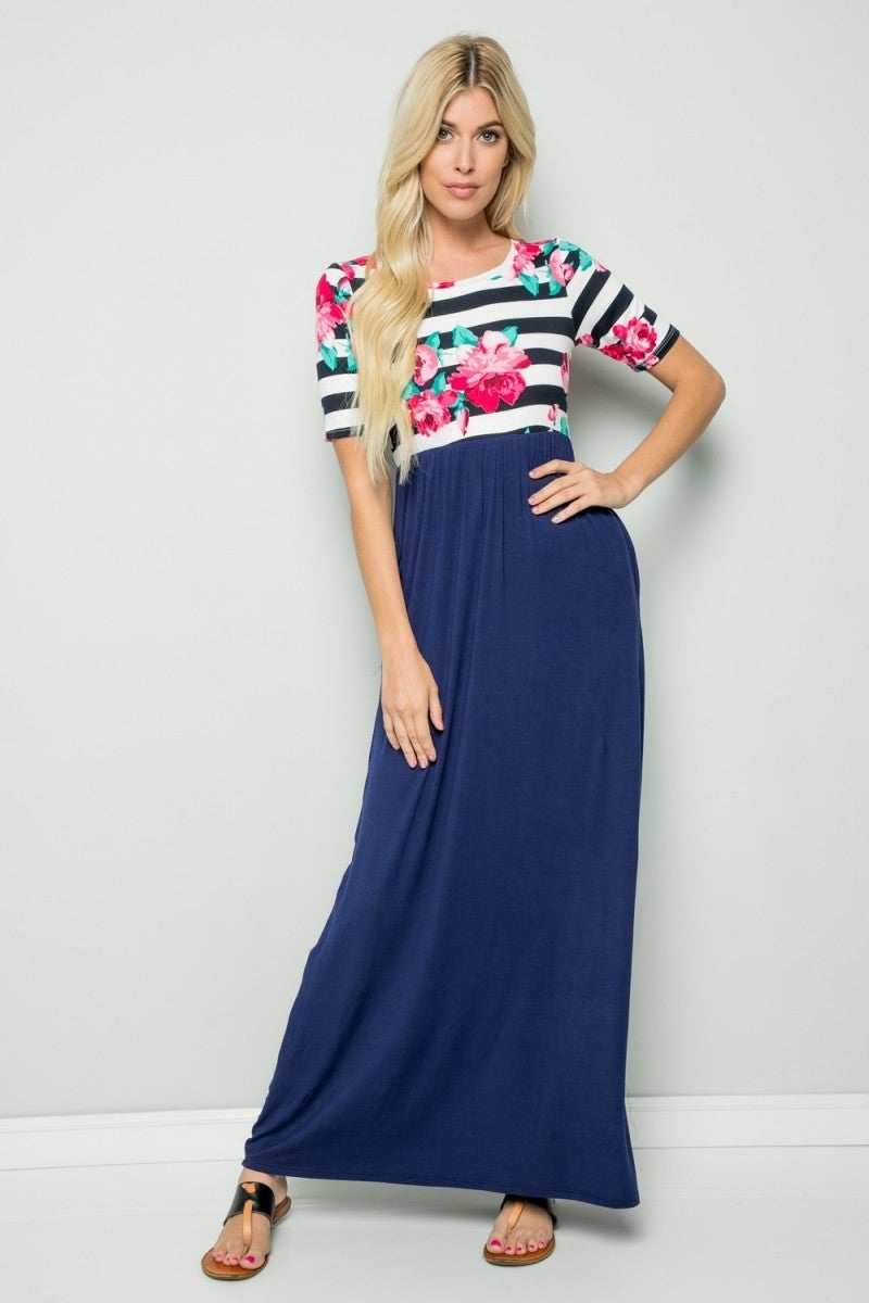 Stick With Me Floral & Stripes Contrast Dress In Navy - Sizes 12-20