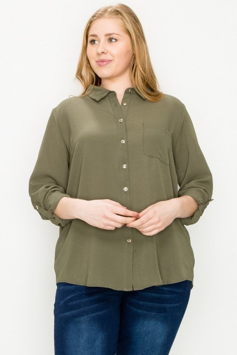 Classically Chic Button Up Collared Top - Multiple Colors - Sizes 12-20