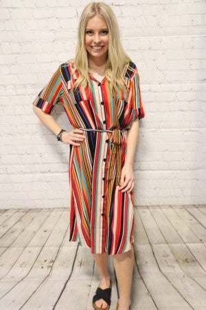 Couldn't Ask for More Vertical Striped Multicolored Dress with Belt-Sizes 4-20