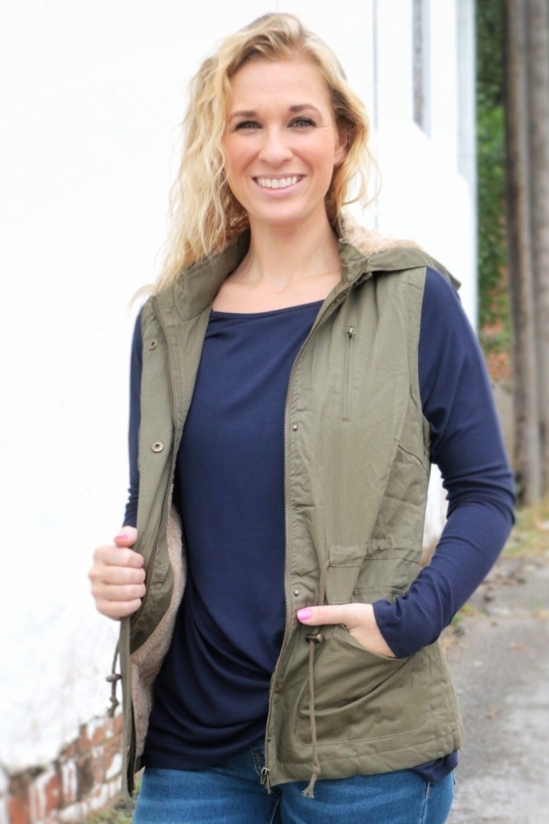 Weekend Plans Olive Hooded Vest- Sizes 4-10