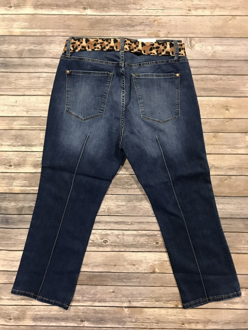 Moment For Life Dark Denim Jeans With Leopard Scarf Sizes 14-20