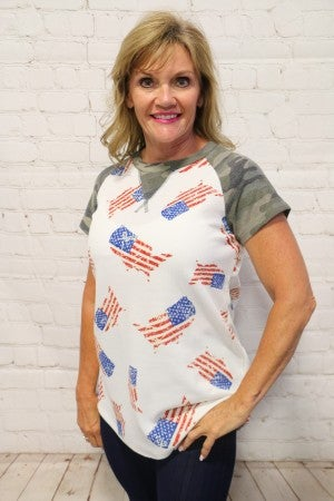 Party In The USA Camo American Top- Sizes 4-12