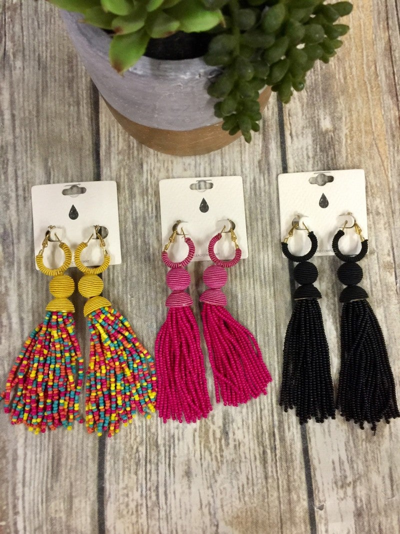 Life Is A Highway Beaded Tassel Earrings in Multiple Colors