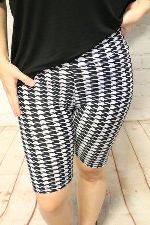 High Waist Houndstooth Print Black and White Biker Shorts - Size 4-20