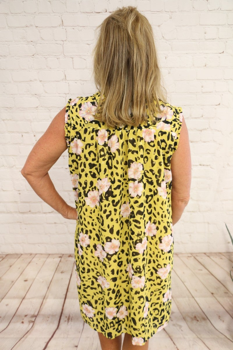 Jungle Beauty Mustard Leopard Dress with Pink Flowers and Gold Accents - Sizes 4-20