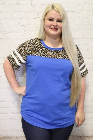 It Is Well With My Soul Leopard Contrast Raglan Top in Royal Blue ~ Sizes 4-20