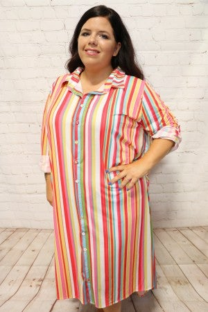 Up for a Challenge Multi-Colored Veritcal Striped Button Down Dress with Accented Back - Sizes 4-20