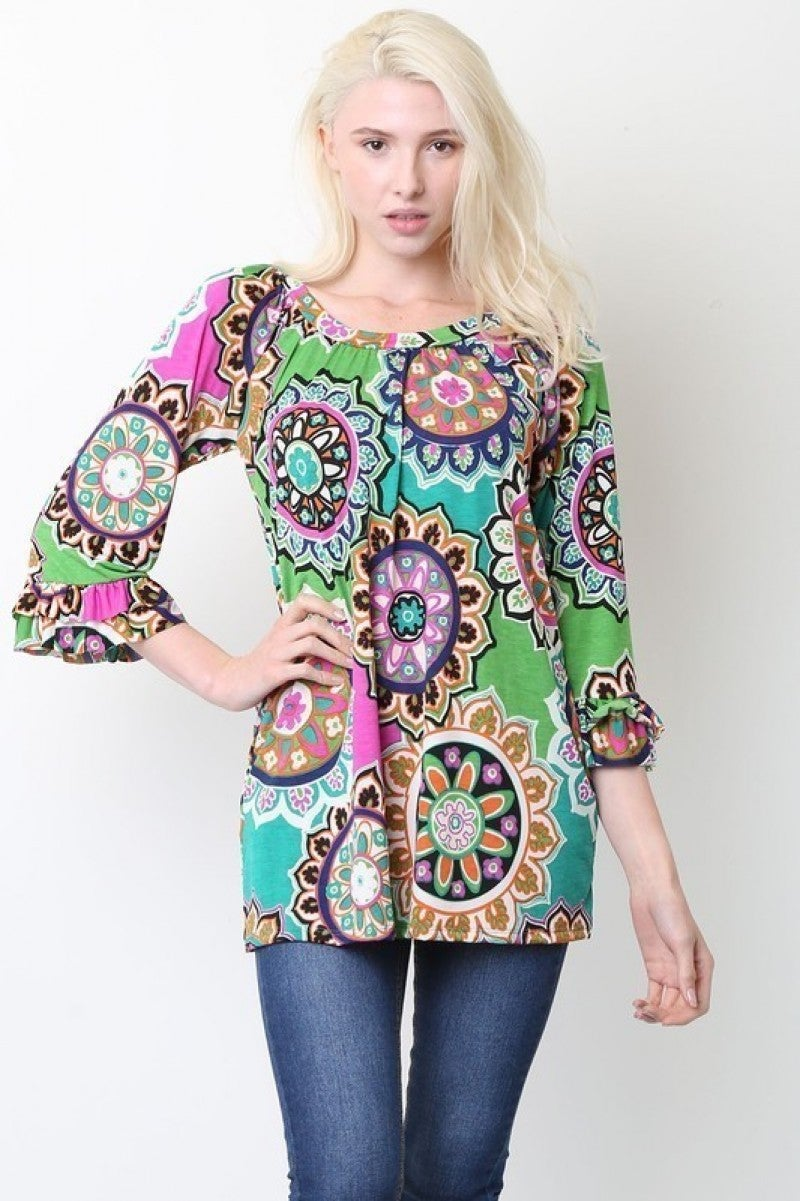 Bring It On Circle Mix Print Top With Ruffle Sleeve In Green- Sizes 12-20