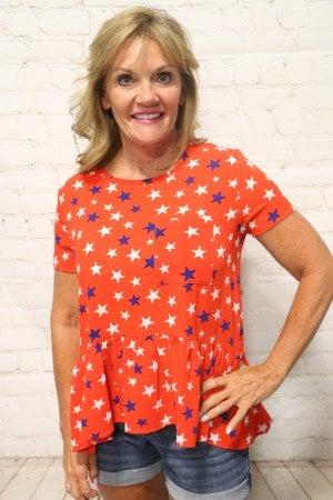 Dancing with Myself Star Print Short Sleeve Top with Ruffle Bottom - Multiple Colors - Sizes 4-20