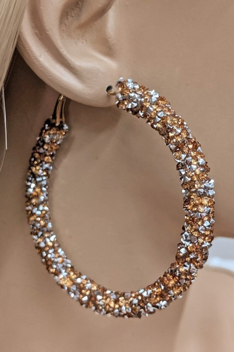 Stunningly Simple Rhinestone Hoop Earrings - Multiple Colors