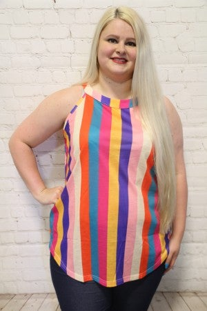 Feelin' Like Hollywood Vertical Colorful Striped Top ~ Sizes 4-20