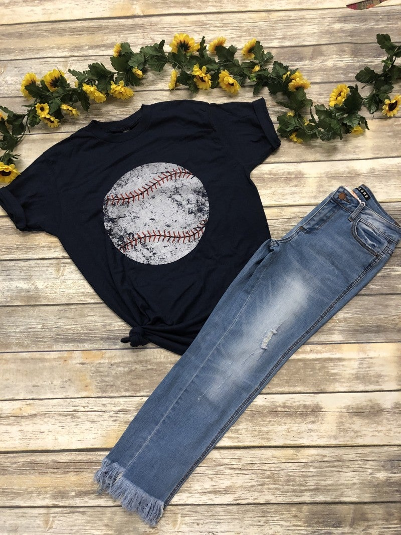 Play Ball! Baseball Graphic Tee in Navy - Sizes 4-12