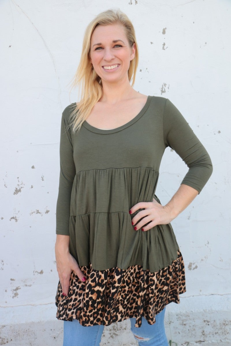 That Was Lucky Multi-Tiered Dress With Leopard Accents In Olive - Sizes 4-10