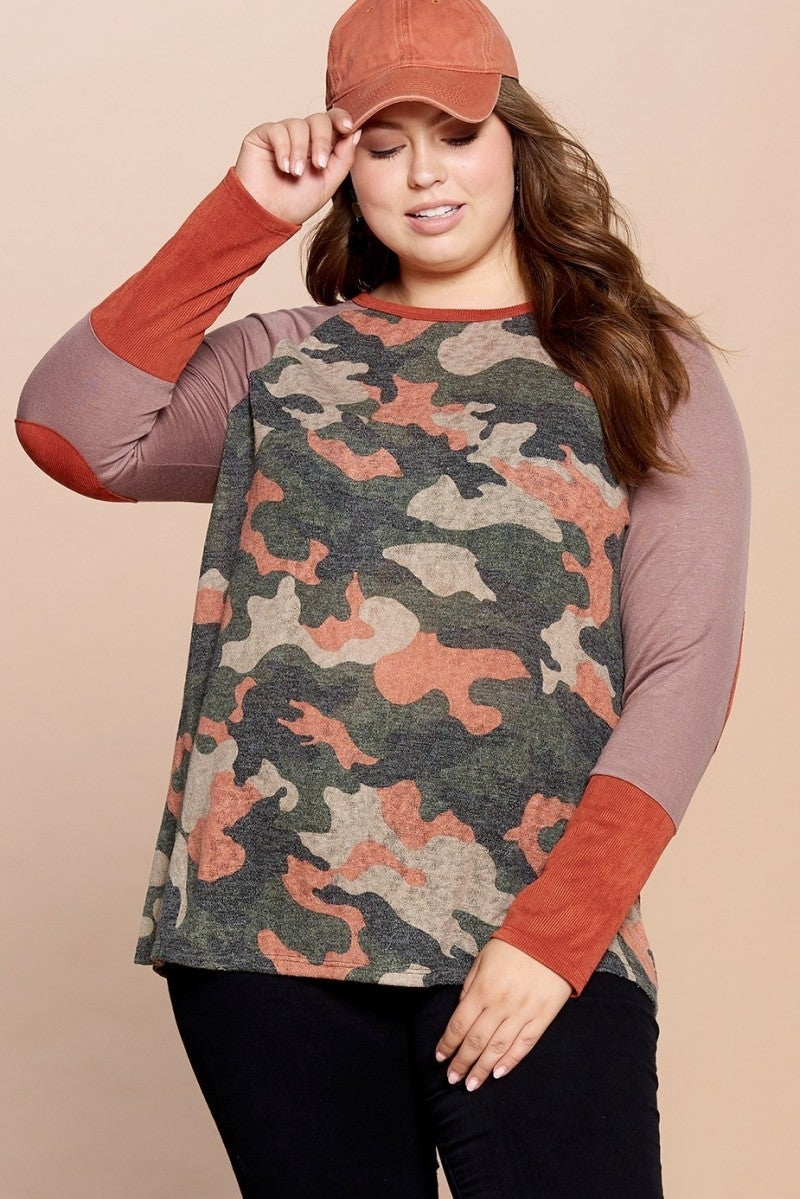 Let's Have Some Fun Camo Contrast Top - Sizes 12-20