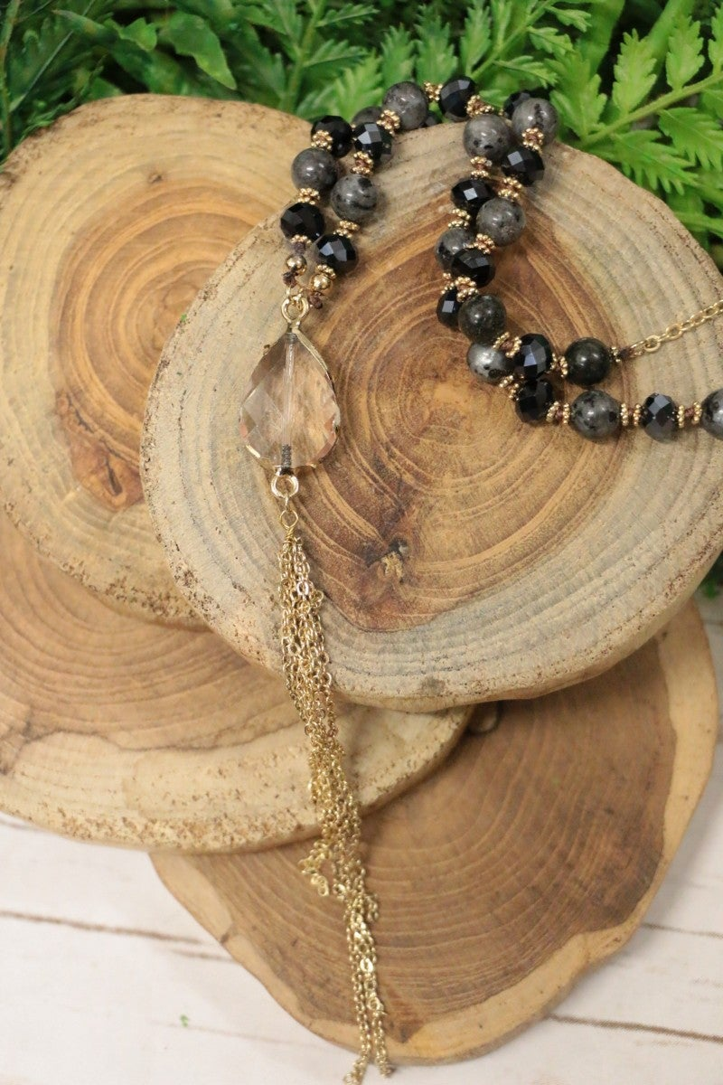 How Can It Be Tassel Beaded Necklace With Pendant In Black