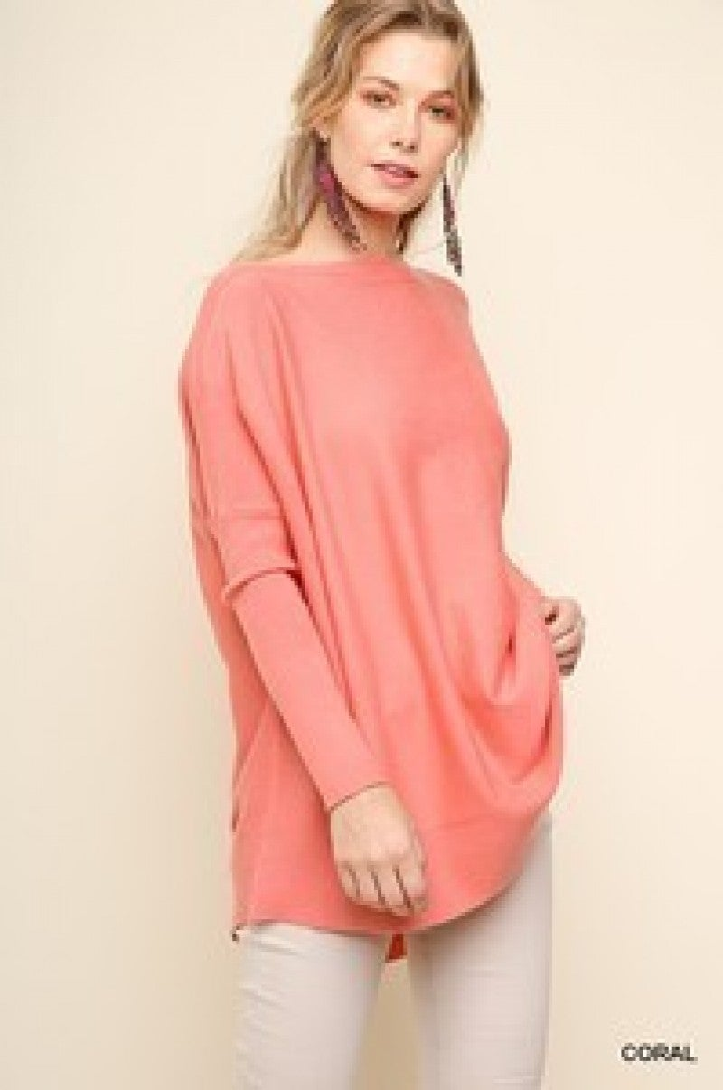 Here Comes Another Day Light Piko Sweater In Coral - Sizes 4-10
