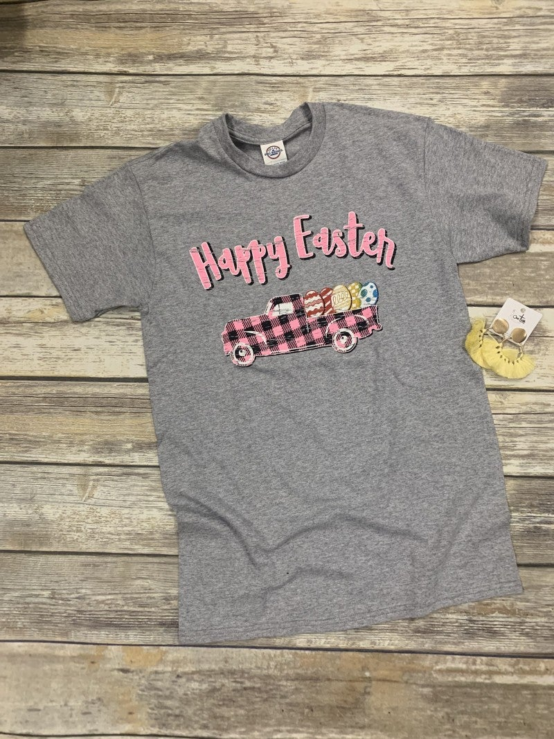 Fill Your Truck With Eggs Happy Easter Graphic Tee In Gray