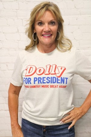 Dolly For President Graphic Tee in Oatmeal - Sizes 4-20