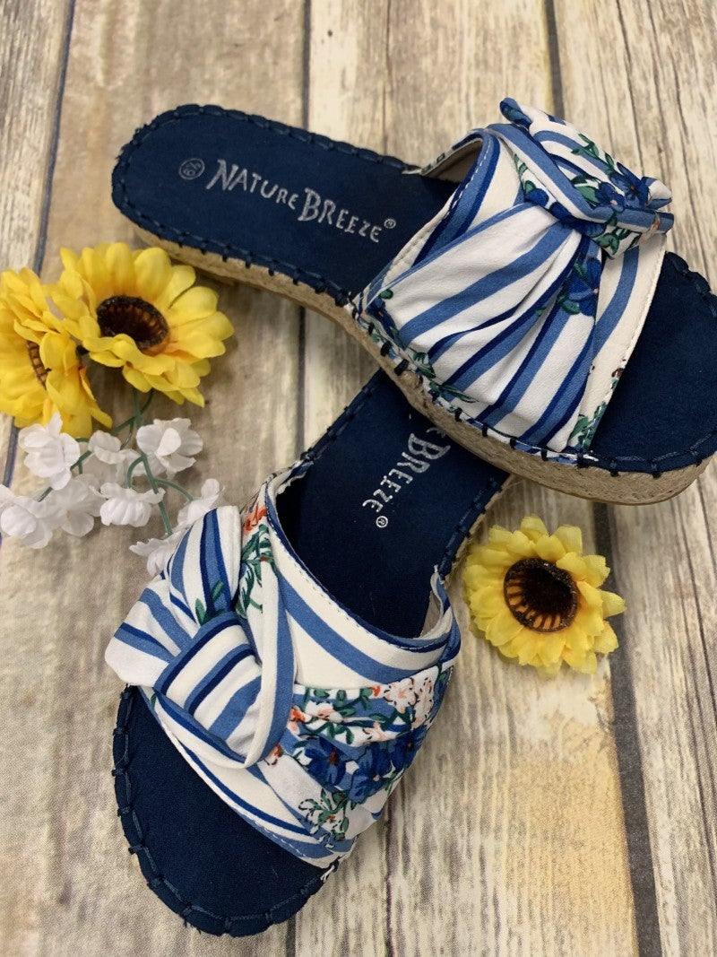 Espadrille Twist Bow Platform Sandals in Blue