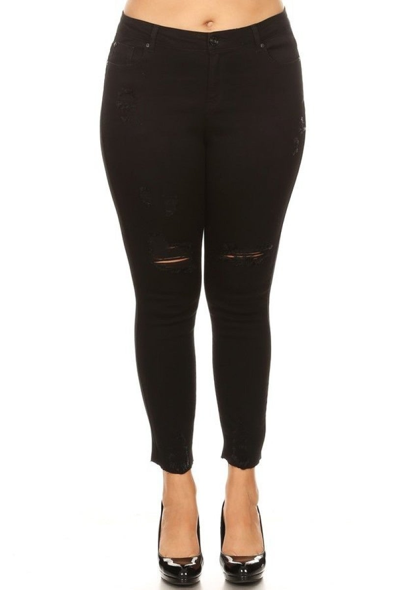 The Isabelle Distressed Black Jeans - Sizes 12-20