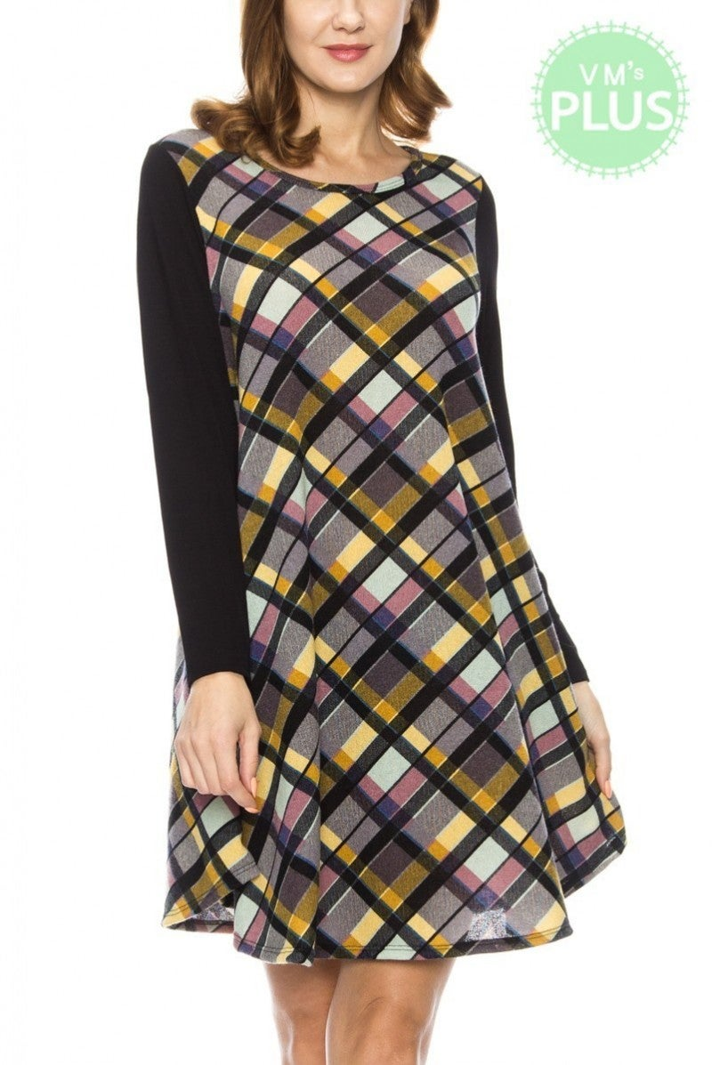 Spunk It Up Plaid Dress With Contrast Sleeve In Black - Sizes 12-20